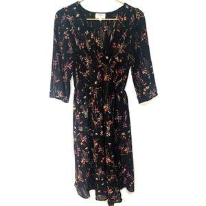 EVERLY Boho Black Floral Sheer Wrap Midi Dress S